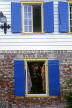 ANTIGUA, St John's, shop front with blue windows, ANT842JPL