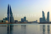 BAHRAIN, Manama, World Trade Centre and Financial Harbour towers, dusk view, BHR1917JPL