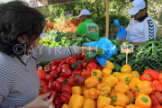 BAHRAIN, Noor El Ain, Garden Bazaar, Farmers Market, shopper at vegetable stall, BHR1160J