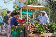 BAHRAIN, Noor El Ain, Garden Bazaar, Farmers Market, shoppers at vegetable stall, BHR1250JPL