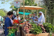 BAHRAIN, Noor El Ain, Garden Bazaar, Farmers Market, shoppers at vegetable stall, BHR1251JPL