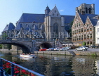Belgium, GHENT, St Michel's Church and tour boat along Leie Canal, GH5JPL