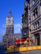 Belgium, GHENT, The Belfry (Belfort) and cafe scene at St Baafsplein, GH12JPL