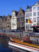 Belgium, GHENT, old houses of Graslei and tour boat at Leie Canal, GH4JPL