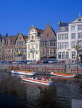 Belgium, GHENT, old houses of Graslei and tour boats at Leie Canal, GH3JPL