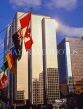 CANADA, British Columbia, VANCOUVER, Downtown architecture and flags, CAN937JPL