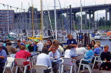 CANADA, British Columbia, VANCOUVER, Granville Island, outdoor cafe scene, CAN921JPL