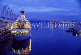 CANADA, British Columbia, VANCOUVER, cruise ship at Canada Place port, dusk view, CAN601JPL