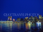 CANADA, British Columbia, VANCOUVER, night skyline and harbourfront reflection, CAN482JPL