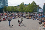 CANADA, Manitoba, WINNIPEG, street entertainer at The Forks, CAN910JPL