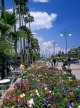 CYPRUS, Larnaca, promenade lined with flower beds and palm trees, CYP143JPL
