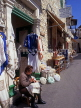 CYPRUS, Lefkara village, street scene with lace shops and woman working, CYP204JPL