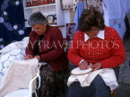CYPRUS, Lefkara village, traditional Lace making, two women at work, CYP200JPL