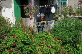 CYPRUS, traditional villages, KATO DRYS (North Larnaca), woman at small house, CYP323JPL