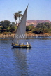 EGYPT, Aswan, River Nile, transporting sugar cane by felucca, EGY325JPL