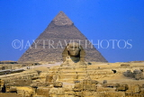 EGYPT, Giza, The Sphinx and Pyramid, EGY011JPL