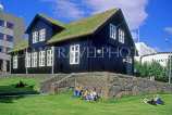 FAROE ISLANDS, Streymoy, Torshavn, old houses of parliament, with grass roof, FAR55JPL