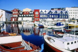 FAROE ISLANDS, Streymoy, Torshavn, waterfront buildings, and harbour boats, FAR46JPL