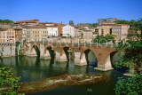FRANCE, Languedoc-Roussillon, ALBI, town view with , River Tarn and Pont Vieux, FRA867JPL