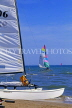 FRANCE, Languedoc-Roussillon, LA GRANDE MOTTE, sailboat on beach, watersports, FRA529JPL