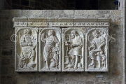 FRANCE, Normandy, MONT SAINT-MICHEL, Abbey, interior, tablets, carvings, FRA2829JPL