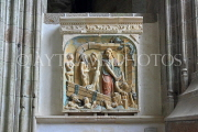 FRANCE, Normandy, MONT SAINT-MICHEL, Abbey, interior, tablets, carvings, FRA2831JPL