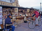 France, PARIS, Latin Quarter, man on bicycle browing by the stalls (along River Seine), FRA1681JPL