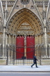 France, PARIS, Notre Dame Cathedral, architectural detail and doorway, FRA2579JPL