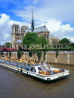 France, PARIS, Notre Dame Cathedral and River Seine with Bateaux Mouche (boat), FRA2081JPL
