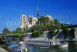 France, PARIS, Notre Dame Cathedral and River Seine with sightseeing boat, FRA1380JPL