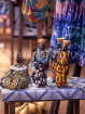 GAMBIA, crafts, African style stall (Bengdulla), hand made dolls in Batik cloths, GAM891JPL