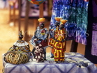 GAMBIA, crafts, African style stall (Bengdulla), hand made dolls in Batik cloths, GAM892JPL