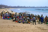 GAMBIA, fishing village scene, peopel gathered on beach to sort out catch, GAM922JPL