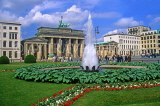 GERMANY, Berlin, Brandenburg Gate and fountain, GER1075JPL