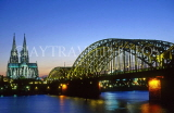 GERMANY, Cologne, Cathedral, River Rhine and bridge, night view, GER1040JPL