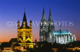 GERMANY, Cologne, Great St Martins Church and Cologne  Cathedral, night view, GER1044JPL