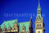 GERMANY, Hamburg, Rathaus (City Hall) spire and rooftops, HAM732JPL