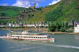 GERMANY, Rhine River and Valley, cruise boat, castle and vineyards, GER301JPL