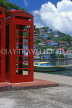 GRENADA, St George's, British telephone booth and harbourfront, GRE306JPL