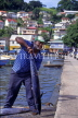 GRENADA, St George's, fisherman with barracuda, GRE421JPL