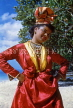 GUADELOUPE, Basse-Terre, woman in traditional costume, dressed for festival, CAR705JPL