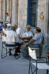Greek Islands, CORFU, Corfu Town, locals outside taverna, GIS741JPL