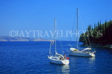 Greek Islands, CORFU, Kalami, coastal view yachts moored, GIS1212JPL