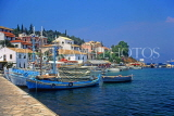Greek Islands, CORFU, Kassiopi, harbourfront and fishing boats, GIS868JPL