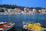 Greek Islands, CORFU, Kassiopi, harbourfront and fishing boats, GIS873JPL