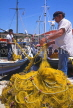 Greek Islands, KEFALONIA, Fiscardo, fishermen sorting out nets, KEF15JPL
