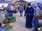 Greek Islands, KEPHALONIA, Argostoli, market scene and priest, GIS498JPL
