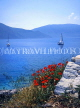 Greek Islands, KEPHALONIA, coastal view with small sailboat and poppies in foreground, GIS521JPL