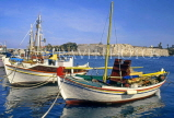 Greek Islands, KOS, Kos Town, castle walls fishing boats, GIS1135JPL