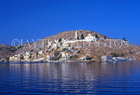 Greek Islands, SYMI, town with hillside church, view from sea, GIS427JPL